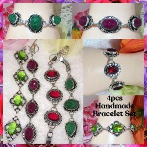 4x Ruby Garnet Emerald Handmade Bracelet Gift Set